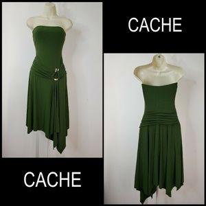 Cache Woman Strapless Tunic Dress Size 4 Green